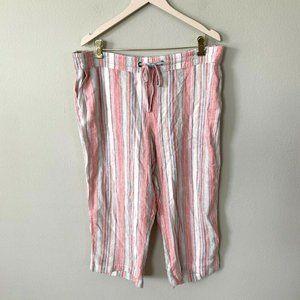 NEW! Per Se Linen Striped Drawstring Capris Pants